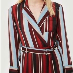 Topshop Other - Topshop long sleeve striped wide leg jumpsuit